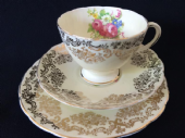 CAREWORN - FOLEY china honey glazed tea trio  - floral / gilt lace